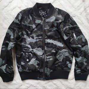 Jackets & Blazers - Dark Olive Camo Printed Bomber Jacket